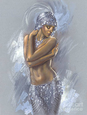 Sequin Digital Art - The Silver Dancer by Zorina Baldescu