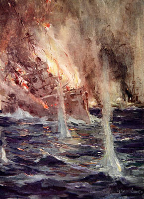 First World War Painting - The Sinking Of The Gneisenau by Cyrus Cuneo