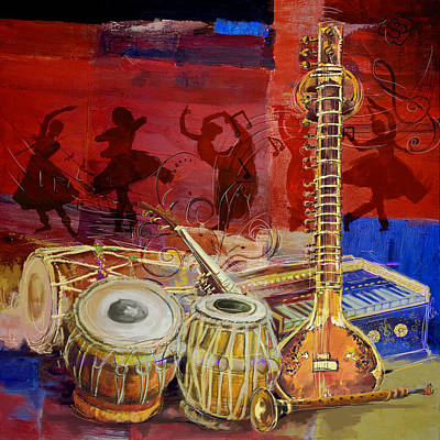 Old Culture Painting - The Sitar Dhol Tabla And Harmonium by Corporate Art Task Force
