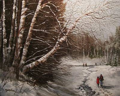 Winter Scene Painting - The Skaters by Tom Shropshire
