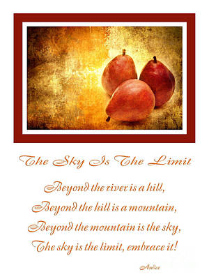 Pears Photograph - The Sky Is The Limit V 8 by Andee Design