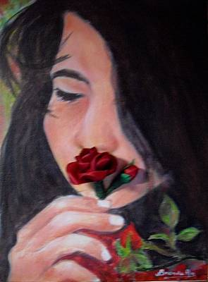 The Smell Of A Rose.. Print by Brenda Almeida-Schwaar