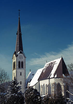 Styria Photograph - The Snow And The Church by Antonio Castillo