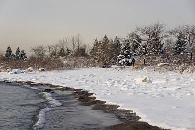 The Snow Just Stopped - A Winter Beach On Lake Ontario Print by Georgia Mizuleva