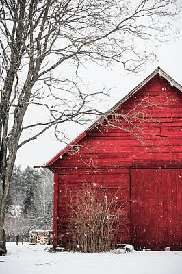 Old Country Roads Photograph - The Snowy Red Barn by Lyn Scott
