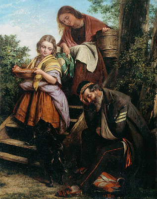 Kindness Painting - The Soldiers Return, C.1861 by Henry Nelson O'Neil