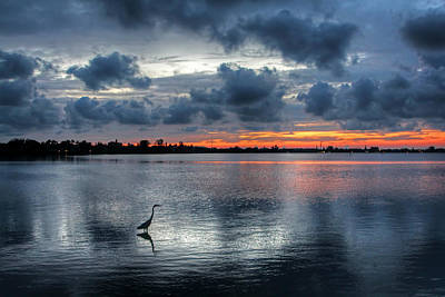 Weathered Photograph - The Solitary Fisherman - Florida Sunset by HH Photography of Florida