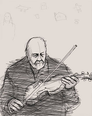 Violin Drawing - The Song Of Things Past by H James Hoff