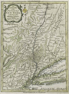 Chart Painting - The Southern Part Of The Province Of New York by Thomas Kitchin