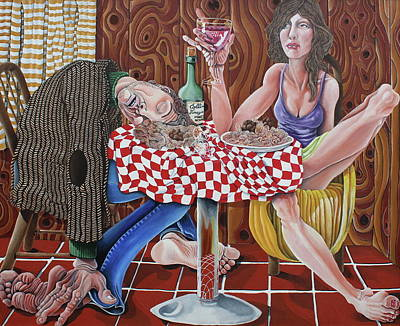 Italian Wine Painting - The Spaghetti Dinner by Don Martinelli