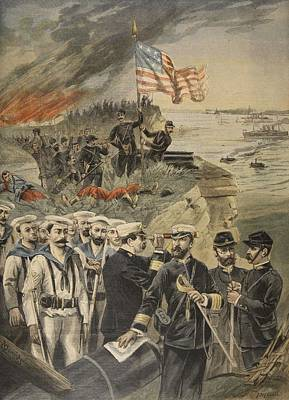 American Flags Drawing - The Spanish American War Landing by French School