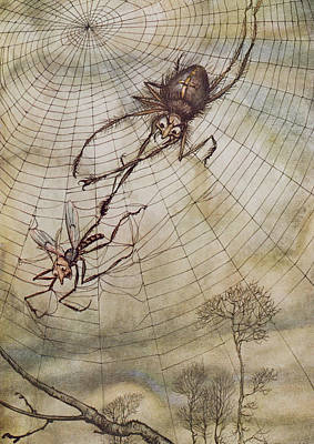 The Spider And The Fly Print by Arthur Rackham