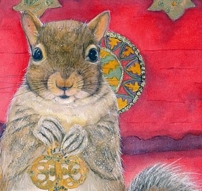 Chipmunk Painting - Sigmund Stores A Secret by Marie Stone Van Vuuren