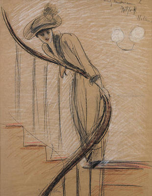 Crayons Drawing - The Staircase by Paul Cesar Helleu