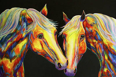 Western Painting - The Stallion Kiss Paint Horses by Jennifer Godshalk