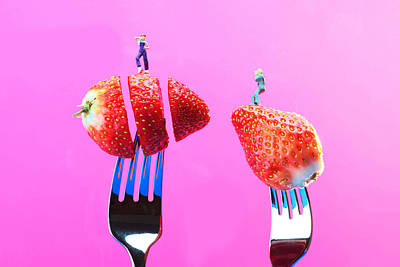 Strawberries Digital Art - The Star On Strawberry Miniature Art by Paul Ge
