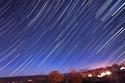 The Star Trail In Ithaca Print by Paul Ge
