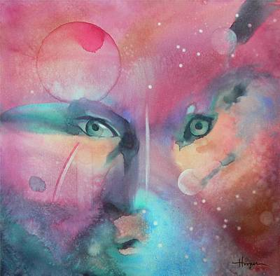 Native American Watercolor Painting - The Stare by Robert Hooper