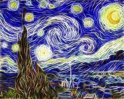 Painter Digital Art - The Starry Night Reimagined by Adam Romanowicz
