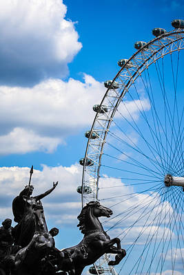 The Statue Of Boadicea Standing In Front Of The London Eye In England Print by Nila Newsom