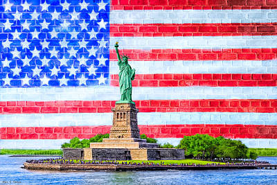 The Statue Of Liberty And The American Flag Print by Mark E Tisdale