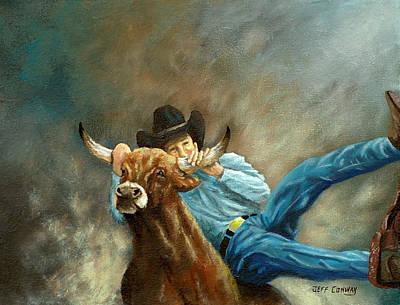Steer Painting - The Steer Wrestler by Jeff Conway