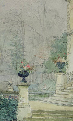 Garden Drawing - The Steps Of Les Fourneaux At Melun by Henri Rouart