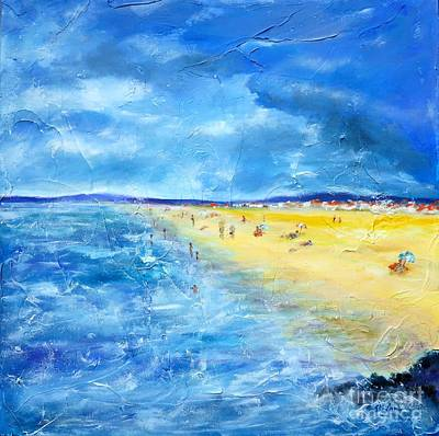 Sea View Painting - The Storm Arrives At The Beach by Cristina Stefan