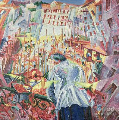 Looking Down Painting - The Street Enters The House by Umberto Boccioni