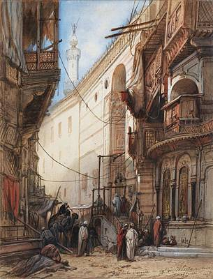 Arabesque Painting - The Street Of The Sultan Mosque In Cairo by Celestial Images