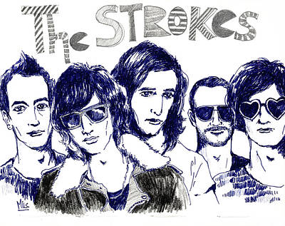 Alternative Rock Band Drawing - The Strokes by Mils Gan