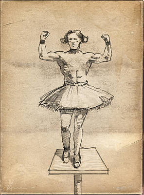 Tutus Drawing - The Strongman by H James Hoff