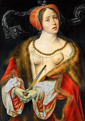 Lucretia Painting - The Suicide Of Lucretia by Joos van Cleve