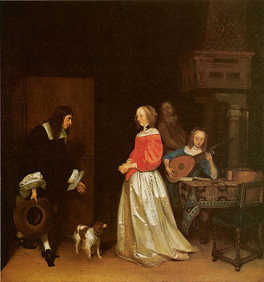The Suitor's Visit Print by Gerard Terborch