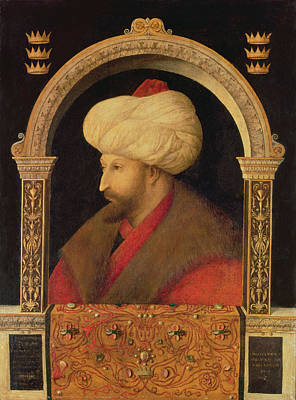 The Sultan Mehmet II 1432-81 1480 Oil On Canvas Print by Gentile Bellini