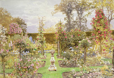 Bed Painting - The Sun Dial In The Rose Garden by Thomas H Hunn