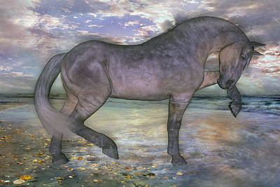 Peach Mixed Media - The Sunrise Horse by Betsy Knapp