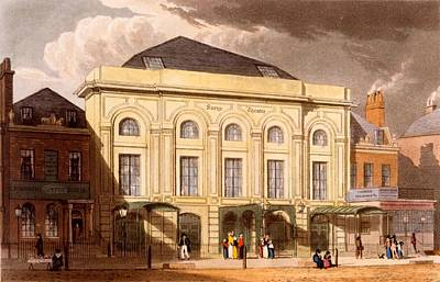 Surrey Drawing - The Surrey Theatre, London, 1826 by Daniel Havell