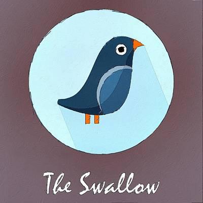 Swallow Digital Art - The Swallow Cute Portrait by Florian Rodarte