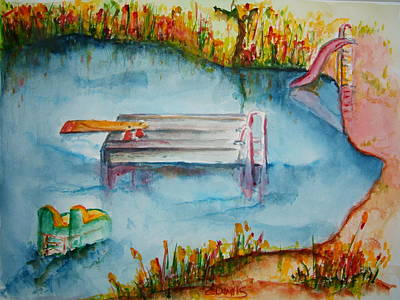 Diving Board Painting - The Swimming Hole by Elaine Duras