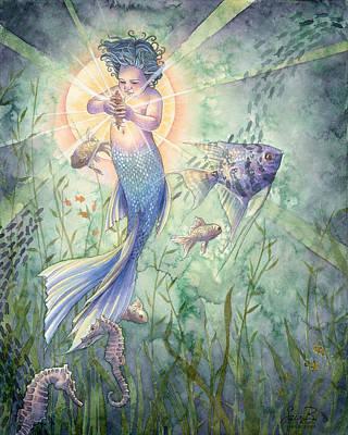 Angelfish Painting - The Talisman by Sara Burrier