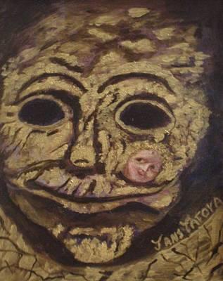 The Tattoed Mask Print by Janis  Tafoya