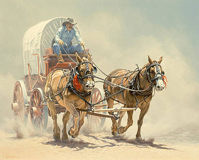 Cowboy Painting - The Team by Paul Krapf