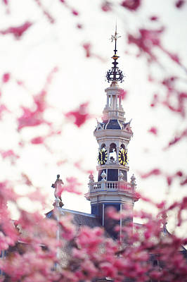 Watch Tower Photograph - The Temple Bell Dies Away 1. Pink Spring In Amsterdam by Jenny Rainbow