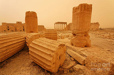 Palmyra Photograph - The Temple Of Bel Palmyra Syria In The Light After A Sandstorm by Robert Preston