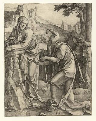 Lucas Van Leyden Drawing - The Temptation Of Christ by Lucas van Leyden