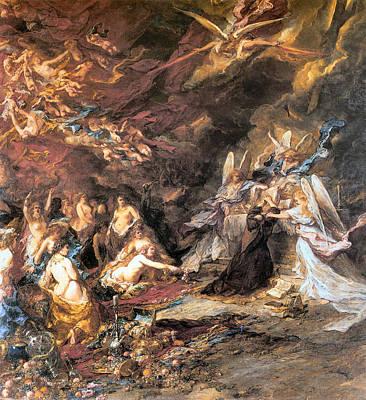 The Shepherdess Digital Art - The Temptation Of St. Anthony by Louis Gabriel Eugene Isabey