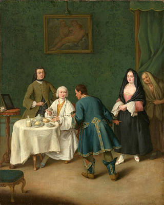 Pietro Longhi Painting - The Temptation by Pietro Longhi