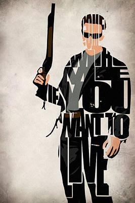Arnold Drawing - The Terminator - Arnold Schwarzenegger by Ayse Deniz