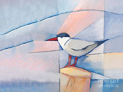 Abstract Birds Painting - The Tern by Lutz Baar